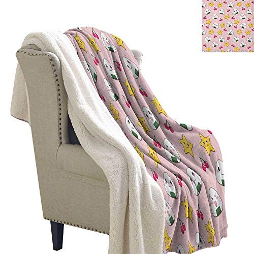 Suchashome Anime Soft Blanket Microfiber Happy Crying Cute Cartoon Rice Balls Cherries Stars Pattern on Stripes Art Blanket Small Quilt 60x32 Inch Pink Yellow and White ()