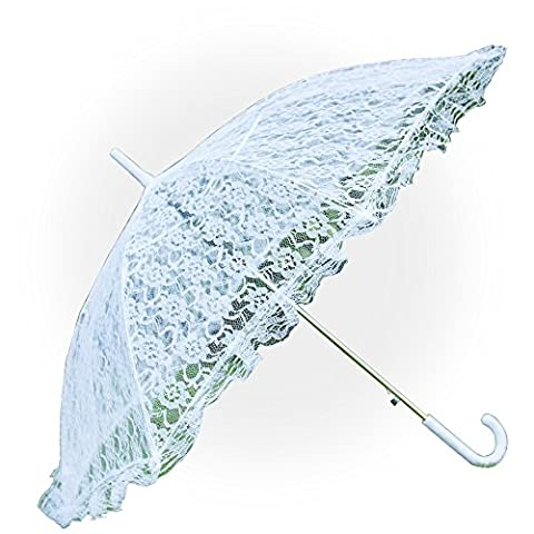 Aircee (TM) White Hollow Lace Parasol Wedding Dress Bridal Party Decoration Props Umbrella (Theatrical Umbrella)