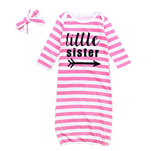 Mellons Newborn Baby Boys Girls Pajamas Letter Printed Stripe Long Sleeve Sleepers With Hat by Mellons