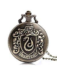 Harry Potter Salazar Slytherin Trendy Pocket Watch Harry Hogwarts College Slytherin Quartz Pocket Watch for Men Analog Necklace Chain Pocket Watch Xmas Gift
