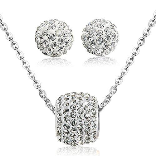 Jstyle Stainless Zirconia Necklace Earrings