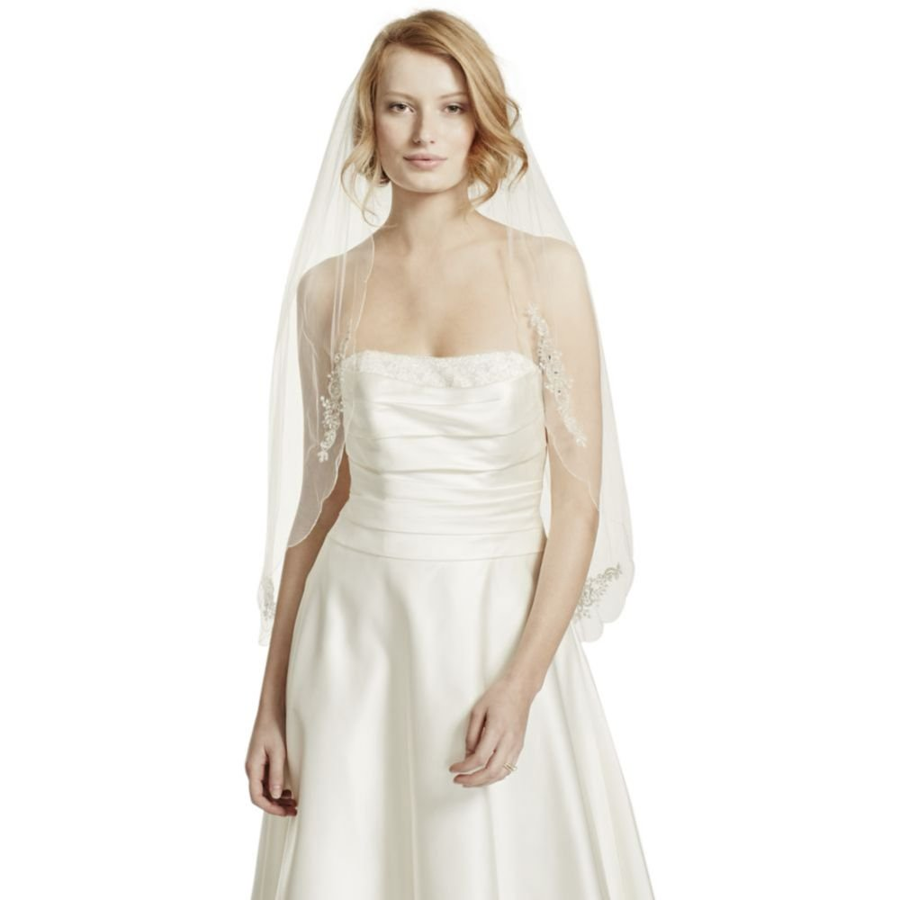 Scalloped Edge Veil with Bead and Crystal Motif Style VWG3121, Gold by David's Bridal