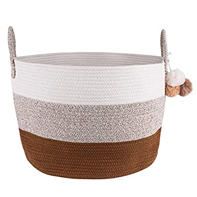 Cotton Rope Blanket Storage Basket - 100% Woven Large Collapsible Laundry Basket for Organizing Baby Nursery, Living Room and Playroom, Perfect for Blankets, Clothes, Towels and Toy Bin (White/Brown) - 👍🏼 MULTI-FUNCTIONAL ORGANIZER - Managing clutter can be very exhausting. Our large woven basket is great organizing bin for baby clothes, toys, books, blankets, towels, and just about anything! 👉🏼 SIMPLE YET STUNNING - Unlike traditional laundry hampers, ours look like they're taken straight out of a home decor magazine. The neutral colors and woven design look great in any home. 👍🏼 SAFE TO USE AROUND BABIES & KIDS - We use nothing but 100% cotton thread without any harmful chemicals. The soft texture won't scratch your little one's sensitive skin or the wooden floor. - living-room-decor, living-room, baskets-storage - 51nEsA2ihzL. SS400  -