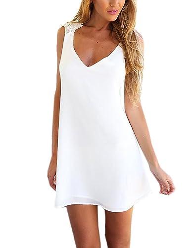 AIYUE Abito Donna Vestito al Ginocchio Estivo Senza Schienale Scollato-V Bianco a Vita Alta Vestivi da Mare Spiaggia Cocktail Dress