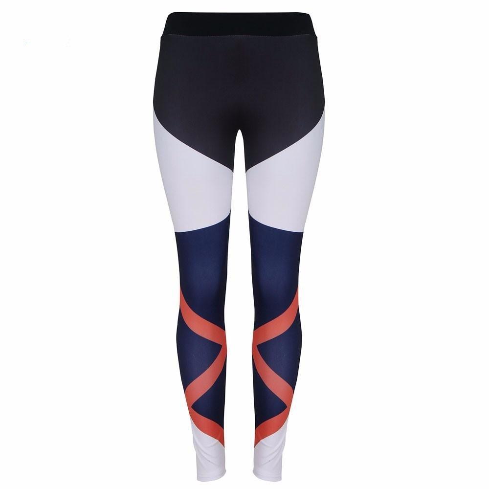 Xuanytp Yogahosen Trainingshose Frauen Fitness Leggings Mid Taille Sportting Elastische Patchwork Hose Schwarz