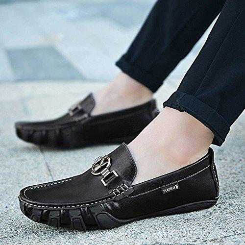 Zapatos Cuero Fashion Cuero De Casuales De Slip on De Hombre LEDLFIE Black Genuino Zapatos dU7qd8