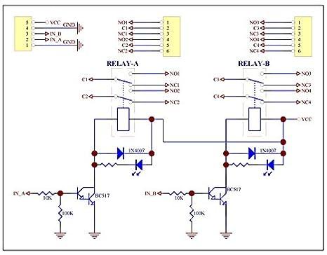 electronics salon two dpdt signal relay module board dc5v version rh amazon com Diagram Electrical Circuit Schematic Circuit Diagram