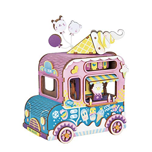 Rolife Dream Hand Crank Music Box with Inner Machine-3D Wooden Puzzle DIY Assemble Toys-Creative Gift for Christmas/Birthday/Valentines Day for Kids Children Girl Friends (Ice Cream Car)
