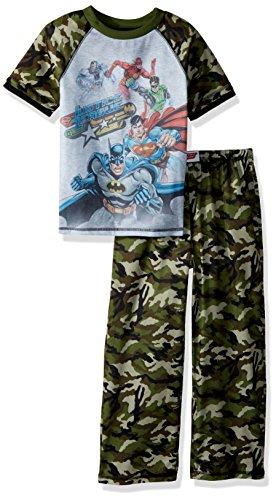 Justice League Boys' Big Superhero 2 Piece Pajama Set, Camo PRNT, Small ()