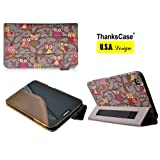 ThanksCase Samsung Galaxy Tab 3 8.0 SM-T3100 Grey Owls Case Cover with Smart Cover Feature Built-in Elastic Hand Strap for Tab 3 8.0 (Grey Owls).
