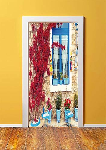 - Coastal Decor 3D Door Sticker Wall Decals Mural Wallpaper,Italian Decor Mediterranean House with Greek Windows,DIY Art Home Decor Poster Decoration 30.3x78.8741,Light Brown White and Navy Blue