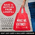 EXTRA LARGE REUSABLE GROCERY BAGS - Durable Heavy-Duty Recycled Plastic Canvas Tote Shopping Bags with Handles. Great Totes for Groceries & Merchandise. Washable, Foldable and Lightweight. Set of 5