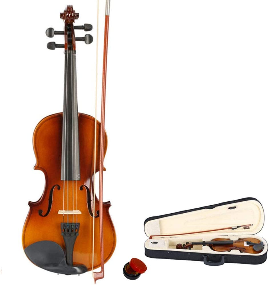 Rosin for 11-12 Years Old Starter Beginner Kits Natural Bow Tidyard New 3//4 Acoustic Violin Kit with Case