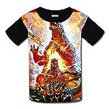 RODONO Unisex Kids Godzilla 3D Printed Round Collar Short Sleeve T- Shirt