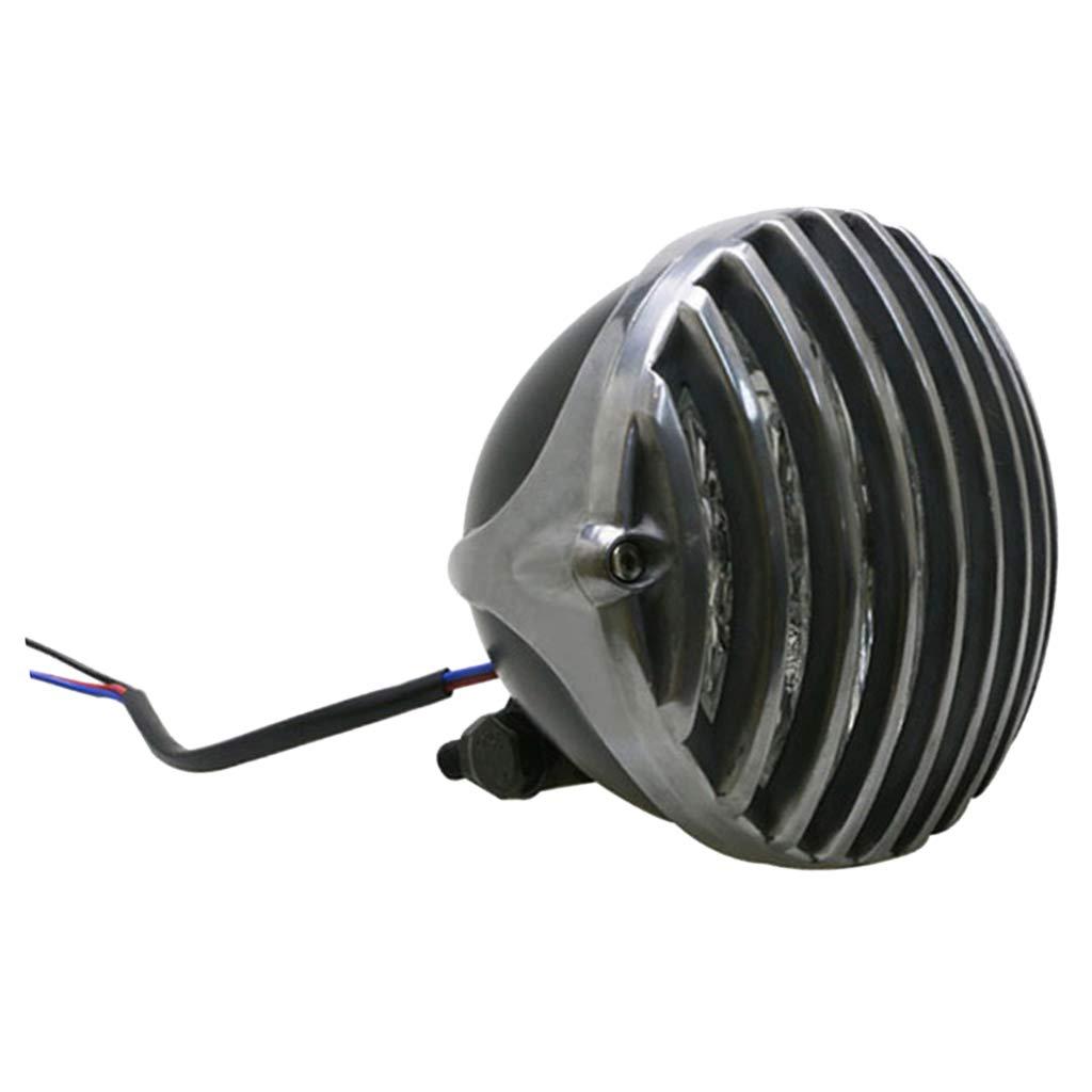 N1 D DOLITY 12V LED Phare de Moto//Cruiser avec Couvre Protection /à Grille Style Vintage