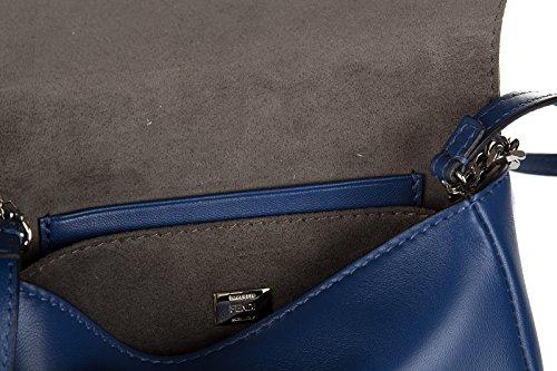 Fendi Schultertasche Leder Damen Tasche Umhängetasche Bag micro baguette blu