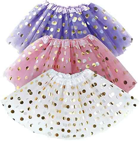 Polka Dot Tutu for Toddler Girls – White, Pink, Purple Tulle Girl Tutus Set w. Gold Dots – Dress Up Party Costume, Birthday Gift, Christmas Present, Kids Pretend Princess Parties– 3 Pack