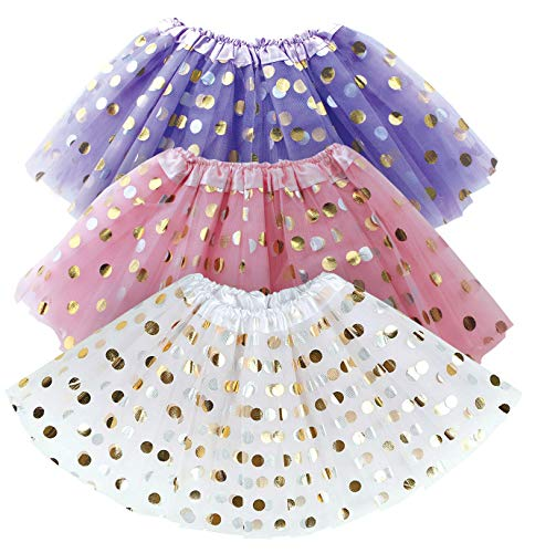 Tutu for Toddler Girls - White, Pink, Purple Tulle Girl Tutus Set w. Gold Polka Dots - Dress Up Party, Halloween Costume, Birthday Gift, Christmas, Kids Pretend Princess Parties- 3 Pack