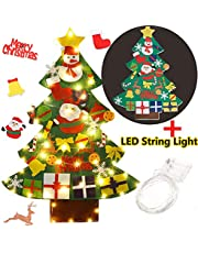 Funpa Felt Christmas Tree, 3.28ft DIY Christmas Tree with with 50 LED Lights 30Pcs Ornaments for Kids Xmas Gifts Home Door Wall Decoration
