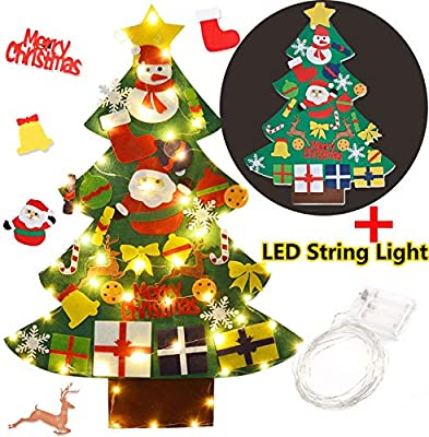 Diy Christmas Ornaments As Gifts.Funpa Felt Christmas Tree 3 28ft Diy Christmas Tree With With 50 Led Lights 30pcs Ornaments For Kids Xmas Gifts Home Door Wall Decoration