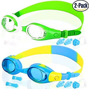 COOLOO Kids Swim Goggles, Swimming Glasses for Children and Early Teens from 3 to 15 Years Old, Anti-Fog, Waterproof, UV Protection