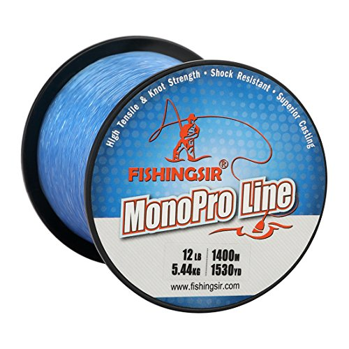 FISHINGSIR 8 LB Monofilament Fishing Line, High Tensile Strength and Abrasion Resistant, Low Memory,Blue