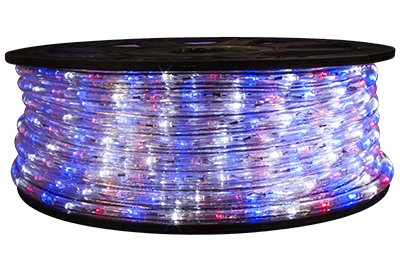 Brilliant Red White and Blue 120 Volt LED Rope Light - 148 Feet by Brilliant