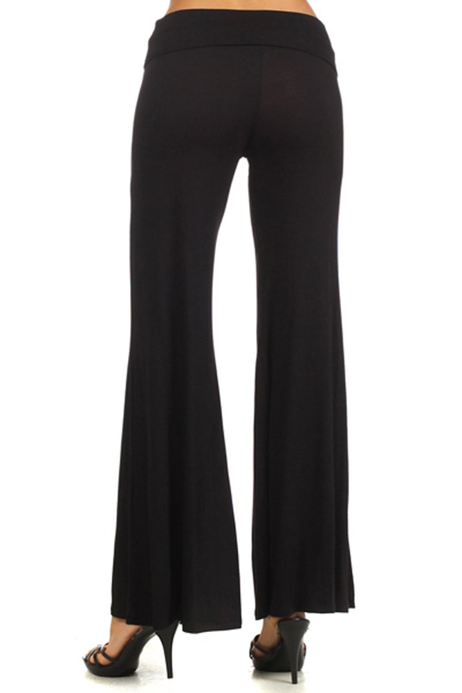 Trendyfriday Women's High Waisted Plazzo Pants L, BLACK by Trendyfriday Collection (Image #2)