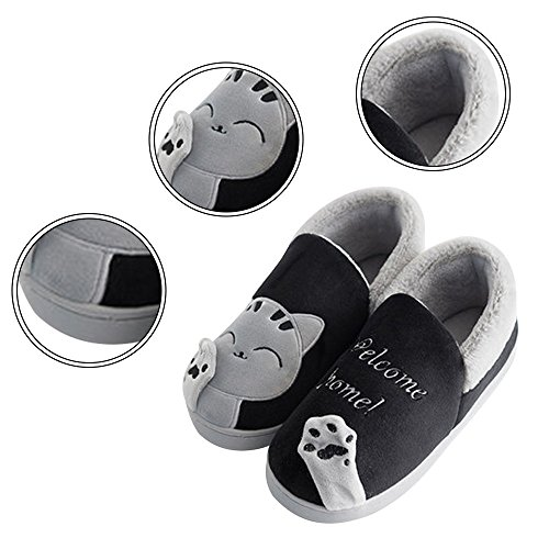 Minetom Coton Chaussons Chat B Printemps Femmes House Peluche Chaud Noir Slipper Chic Shoes Hommes HZHwq0r