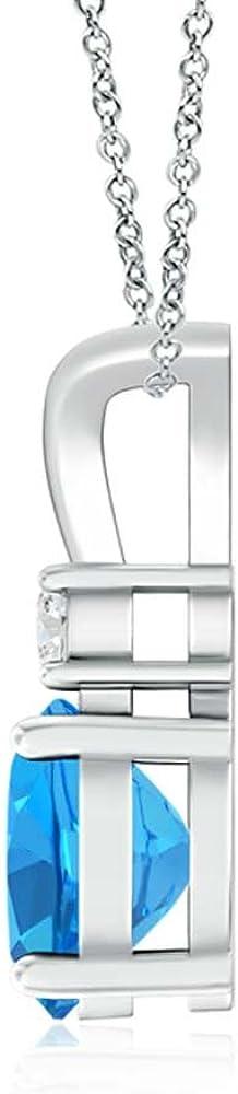 Diamond in 14K White Gold Fn SILVER SEA EMPIRE Valentine/'s Day Love Gift Womens 1.20 Ct Round Blue Topaz V-Bail Pendant with Sim