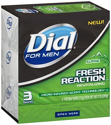 Dial For Men Fresh Reaction Bar Soap, Alpine, 3 Count
