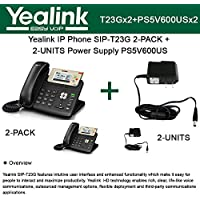 Yealink IP Phone SIP-T23G 2PACK 3-Lines HD Voice + 2UNITS Power Supply PS5V600US