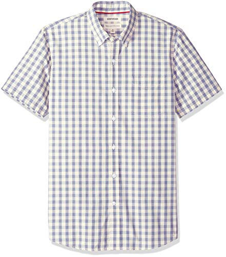 Poplin Check Shirt - Goodthreads Men's Standard-Fit Short-Sleeve Plaid Poplin Shirt, -ivory check, Large Tall