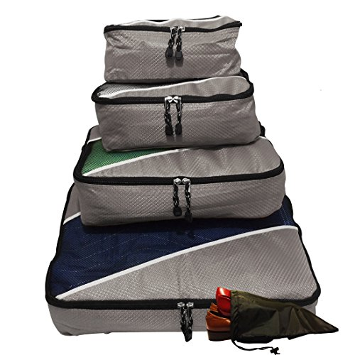 Amazon Lightning Deal 57% claimed: Evatex Packing Cubes | Travel Packing Cubes, 4pc Set with Free Shoe bags