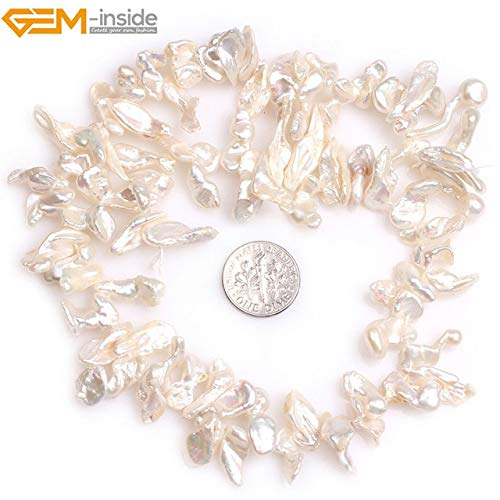 Calvas 7x17mm AA Natural White Stick Point Biwa Freshwater Cultured Pearls Beads for Jewelry Making 15incheds DIY Jewellery - (Color: White 7x17mm)