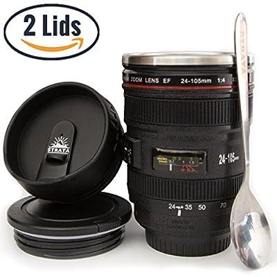 Camera Lens Coffee Mug -13.5oz, SUPER BUNDLE! (2 LIDS + SPOON) Stainless Steel, Travel Coffee Mug, Sealed & Retractable Lids! Camera Mug, funny coffee mugs, unique coffee mugs, personalized gifts
