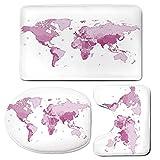 3 Piece Bath Mat Rug Set,Light-Pink,Bathroom Non-Slip Floor Mat,Cute-World-Map-Continents-Island-Land-Pacific-Atlas-Europe-America-Africa-Decorative,Pedestal Rug + Lid Toilet Cover + Bath Mat,White-Li