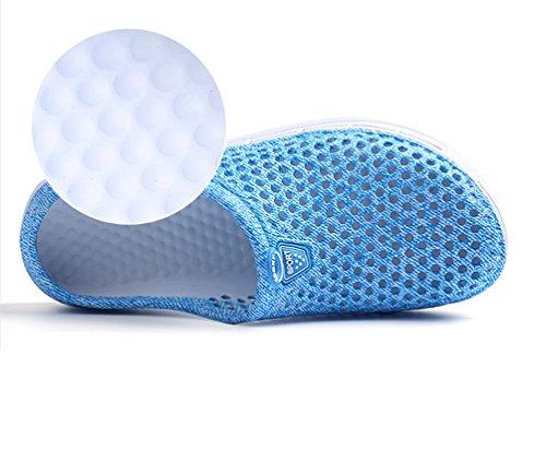 YOUJIA Unisexo Verano Al aire libre Respirable Zuecos Zapatos de la playa Agua Plano Zapatillas #2 Cielo Azul