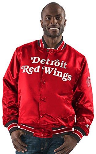 STARTER NHL Detroit Red Wings Men's The Closer Satin Full Snap Jacket, Medium, Red (Starter Red Detroit Wings)