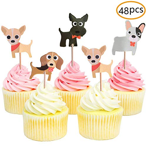 (Dog Cupcake Toppers,Puppy Cupcake Toppers,Pet Theme Baby Shower Birthday Party Cupcake Decoration)