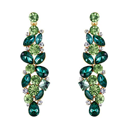 EVER FAITH Austrian Crystal May Birthstone Teardrop Flower Cluster Pierced Dangle Earrings Green Gold-Tone