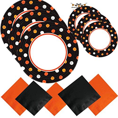 Paper Plates Halloween Party Supplies Set Kit Premium Sturdy Disposable Dinnerware Black Orange Napkins Plates Recipe Serves 40 (181 Pieces)