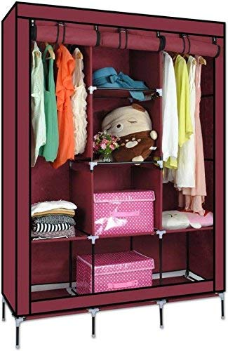 Krishyam Fabric Multipurpose Fancy Portable Foldable Cabinet with Shelves(3.5ft, Maroon)