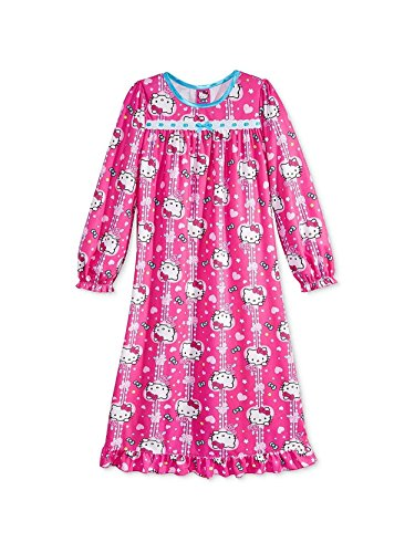 Hello Kitty Little Girls Flannel Granny Gown Nightgown (10, Heart Pink) -