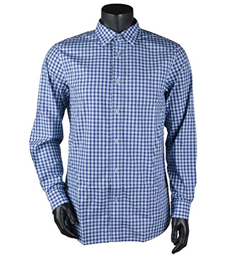 Ashworth Men's Windowpane Check Woven Shirt (X-Large, Blue Violet) ()
