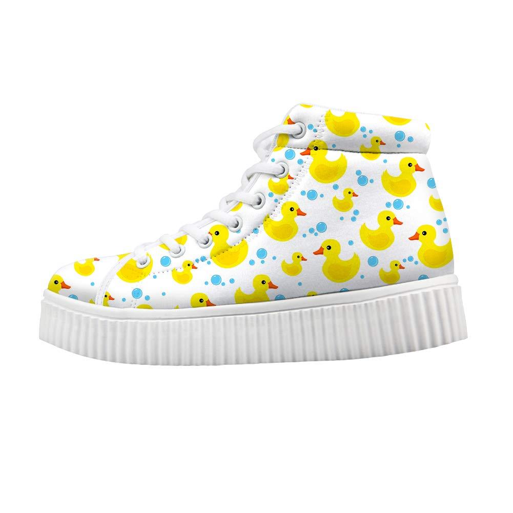 Owaheson Platform Lace up Sneaker Casual Chunky Walking Shoe Women Rubber Duck Water Drops Bubbles