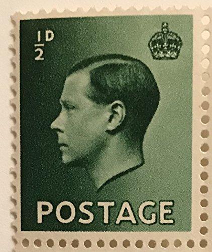 Postage Stamps Great Britain. One Single 1/2p Dark Green Edward VIII Stamp Dated 1936, Scott #230.