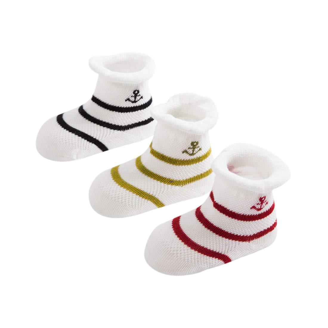 DEBAIJIA 3 Paar Baby Socken Kinder Neugeborenes Gestreifte S/öckchen Warme Kuschelsocken Weich S/ü/ß Bequem Baumwolle f/ür 0-3 Jahre alt Junge M/ädchen f/ür alle Jahreszeiten