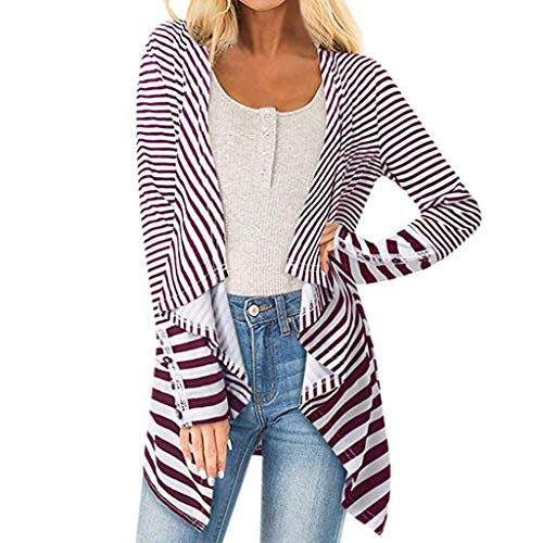 Spring Color  Women's Casual Striped Open Front Long Sleeve Cardigan Asymmetrical Lightweight Tops Outwear Red -