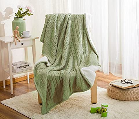 LakeMono Eco-friendly Crochet Blanket Super Soft Warm Knitted Throw Cover bed quilt Rug for Living Room/Car/Bedroom /Sofa/Bed /Couch /Office Adult and Kids Resting Relaxing (47×70 Inches, Deep Green)